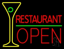 Restaurant With Martini Glass Open Neon Sign
