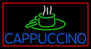 Blue Cappuccino With Red Border Neon Sign