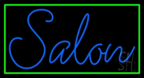 Blue Cursive Salon With Green Border Neon Sign