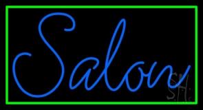 Blue Cursive Salon With Green Border Neon Sign