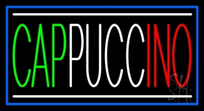 Cappuccino With Blue Border Neon Sign