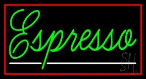 Cursive Green Espresso With Red Border Neon Sign