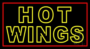 Double Stroke Hot Wings Neon Sign