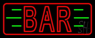 Double Stroke Red Bar With Green Lines And Red Border Neon Sign