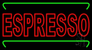 Double Stroke Red Espresso With Green Lines Neon Sign