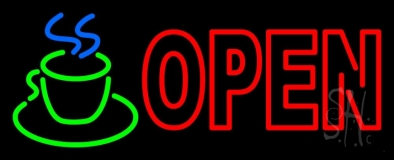 Double Stroke Red Open Coffee Cup Neon Sign