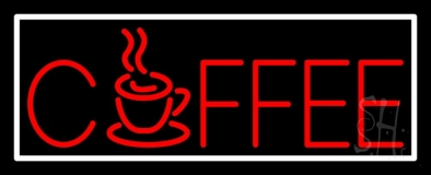 Red Coffee Mug With White Border Neon Sign