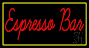 Red Espresso Bar With Yellow Border Neon Sign