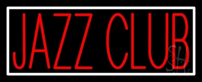 Red Jazz Club With White Border Neon Sign
