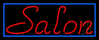 Red Salon With Blue Border Neon Sign