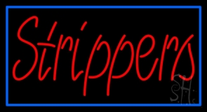 Red Strippers With Blue Border Neon Sign