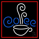 White Cup Blue Coffee With Red Border Neon Sign