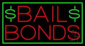 Bail Bonds With Dollar Logo Neon Sign