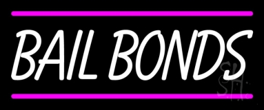 Bail Bonds With Pink Lines Neon Sign