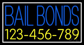 Blue Bail Bonds With Number Neon Sign