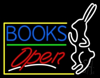 Blue Books With Rabbit Logo Open Neon Sign