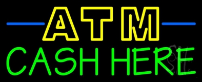 Double Stroke Atm With Cash Here 1 Neon Sign