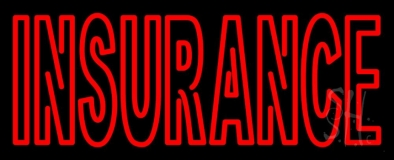Double Stroke Red Insurance Neon Sign