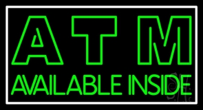 Green Atm Available Inside Neon Sign