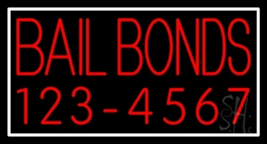 Red Bail Bonds With Number Neon Sign
