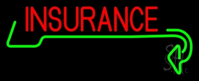 Red Insurance with Green Arrow Neon Sign