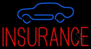 Red Insurance with Blue Car Neon Sign