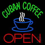 Cuban Coffee Red Open Logo Neon Sign