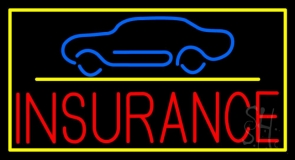 Red Insurance Car Logo with Yellow Border Neon Sign