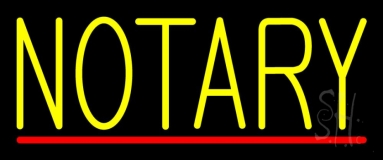 Yellow Notary With Red Line Neon Sign