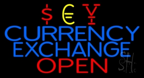Blue Currency Exchange Red Open Neon Sign