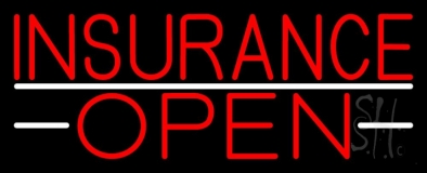 Insurance Open White Line Neon Sign