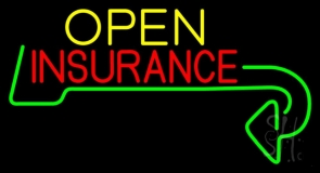 Insurance Open with Arrow Neon Sign