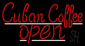 Red Cuban Coffee Open Neon Sign