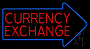 Red Currency Exchange With Arrow Neon Sign