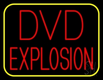 Red Dvd Explosion Yellow Border Neon Sign