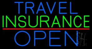 Travel Insurance Open Block Red Line Neon Sign