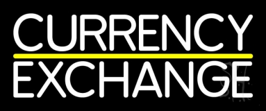 White Currency Exchange Neon Sign