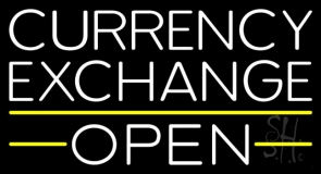 White Currency Exchange Open Neon Sign