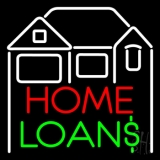 Home Loans With Home Logo Neon Sign