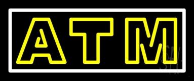 Yellow Atm White Border Neon Sign