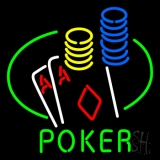 Poker Double Aces Table And Chips LED Neon Sign
