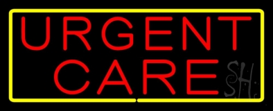 Urgent Care Rectangle Yellow Neon Sign
