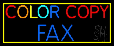Color Copy Fax With Border Neon Sign