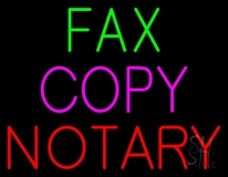Fax Copy Notary Neon Sign