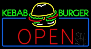 Kebab Burger Open Neon Sign
