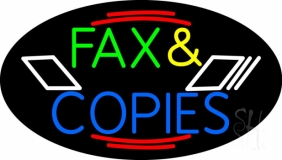 Multicolored Fax And Copies Neon Sign