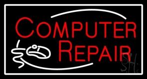Red Computer Repair Logo Neon Sign