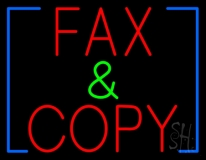 Red Fax And Copy Neon Sign