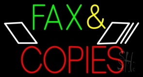 Multicolored Fax And Copies 2 Neon Sign