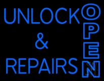 Unlock And Repairs Open 2 Neon Sign